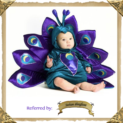 A Playful Peacock Halloween Costume for Toddlers and Infants. Available in sizes: 6/12 months, 12/18 months, and 18 months/2T.