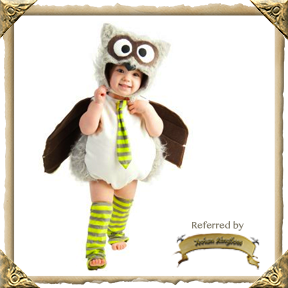 Owl Infant or Toddler Costume. Comes in sizes for 6/12 months, 12/18 months, or 18 months/2T.