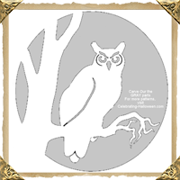 Intricate Owl Halloween Pumpkin Carving Template